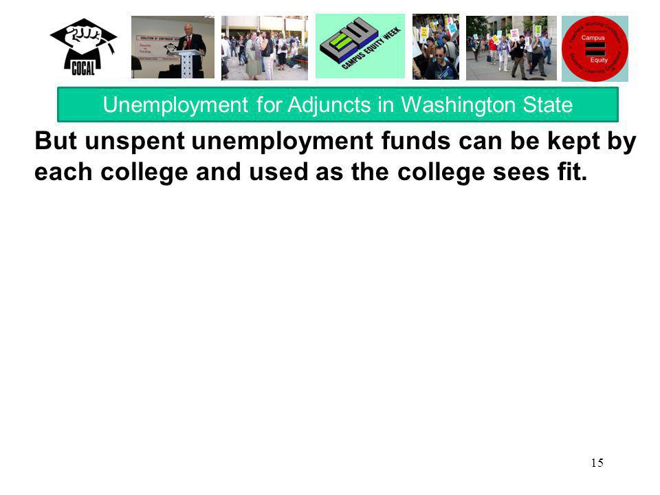 15 But unspent unemployment funds can be kept by each college and used as the college sees fit.