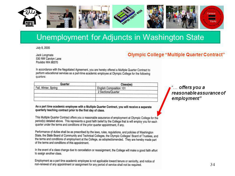 34 Unemployment for Adjuncts in Washington State … offers you a reasonable assurance of employment Olympic College Multiple Quarter Contract