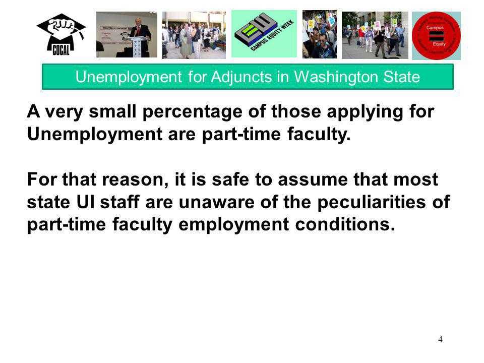 4 A very small percentage of those applying for Unemployment are part-time faculty.