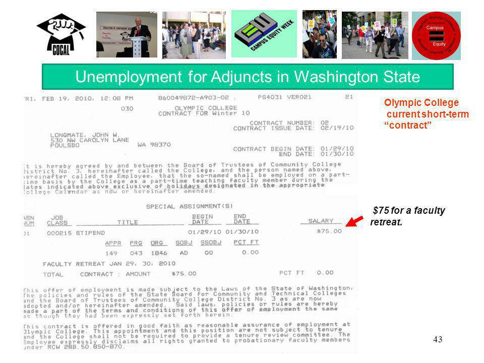 "43 Unemployment for Adjuncts in Washington State $75 for a faculty retreat. Olympic College current short-term ""contract"""