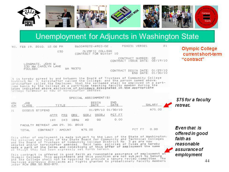 44 Unemployment for Adjuncts in Washington State Even that is offered in good faith as reasonable assurance of employment Olympic College current short-term contract $75 for a faculty retreat.