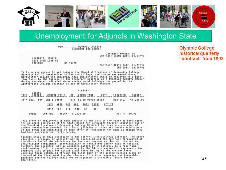 "45 Unemployment for Adjuncts in Washington State Olympic College historical quarterly ""contract"" from 1992"