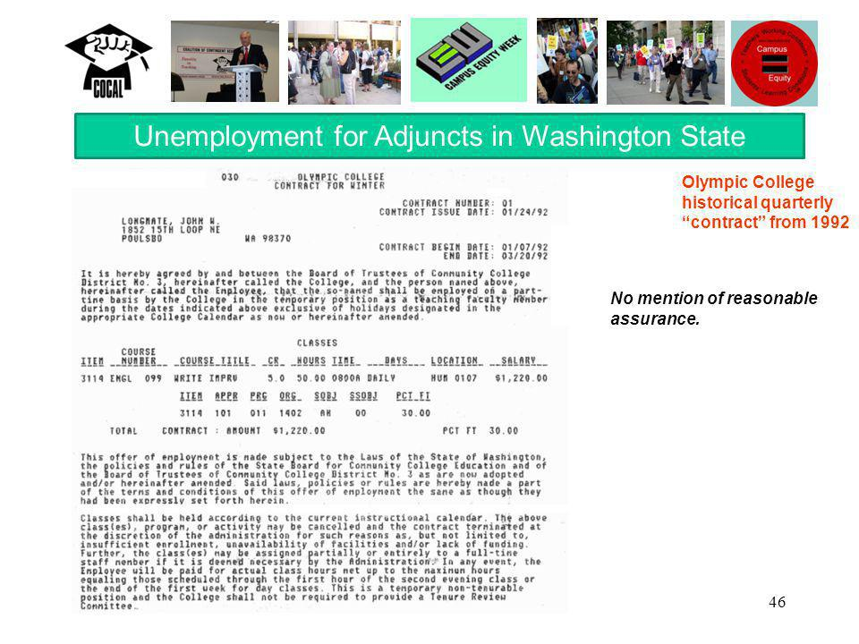 46 Unemployment for Adjuncts in Washington State No mention of reasonable assurance.