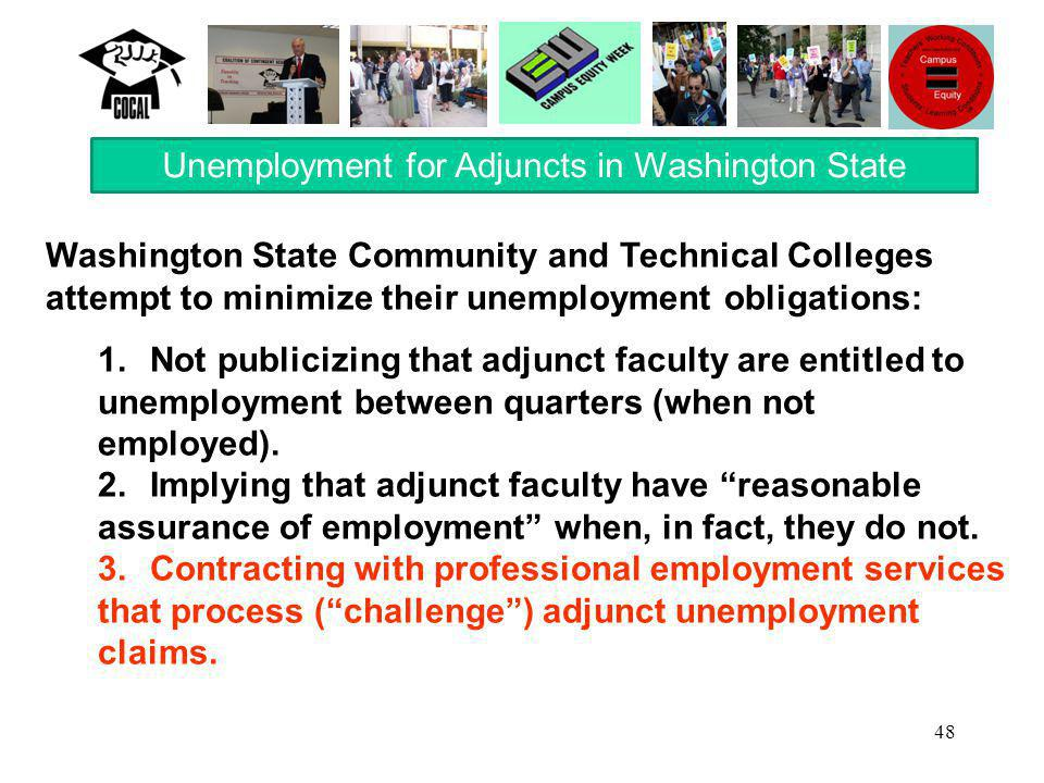 48 Washington State Community and Technical Colleges attempt to minimize their unemployment obligations: 1.Not publicizing that adjunct faculty are en