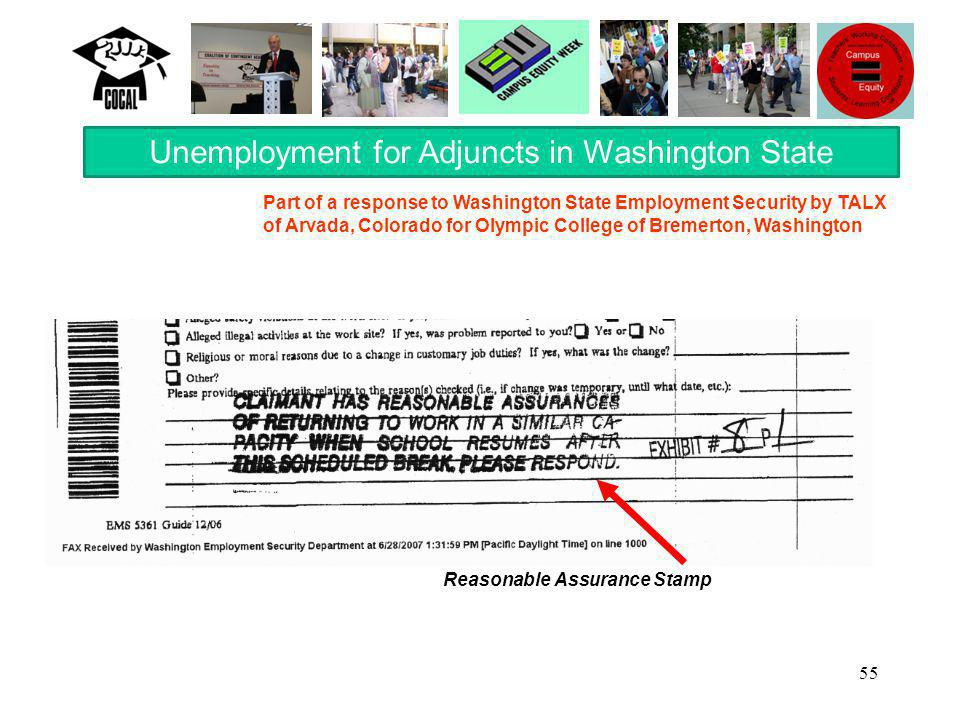 55 Unemployment for Adjuncts in Washington State Reasonable Assurance Stamp Part of a response to Washington State Employment Security by TALX of Arvada, Colorado for Olympic College of Bremerton, Washington