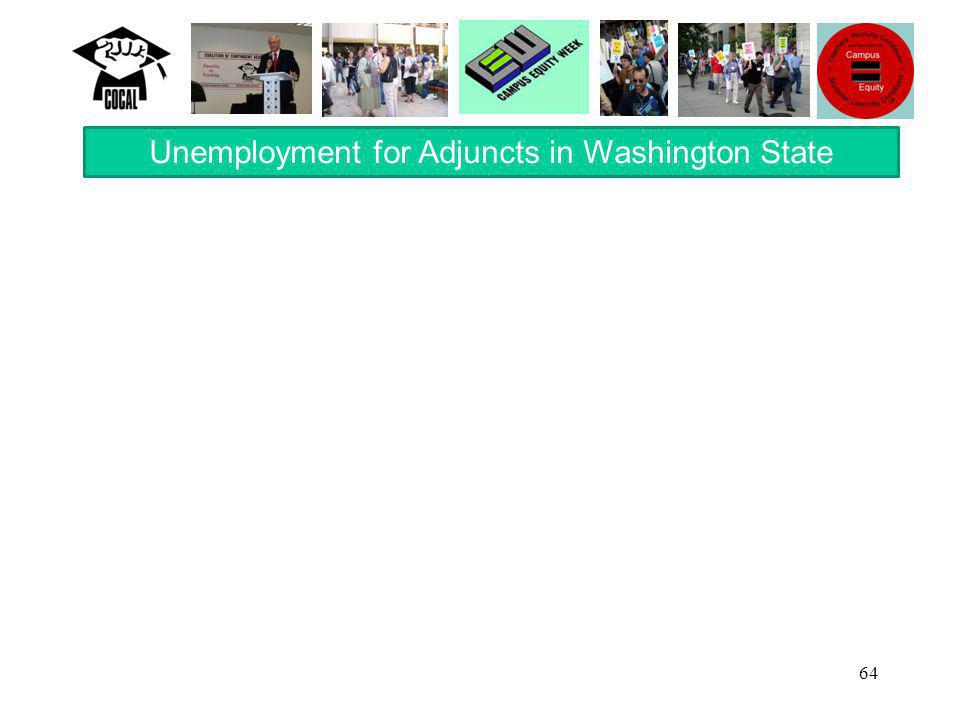 64 Unemployment for Adjuncts in Washington State