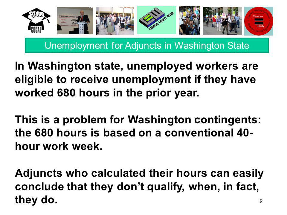 9 In Washington state, unemployed workers are eligible to receive unemployment if they have worked 680 hours in the prior year.