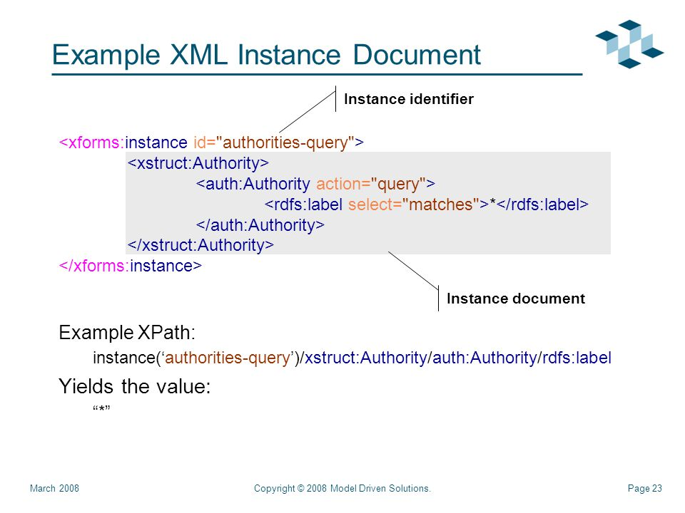 Page 23 Example XML Instance Document Example XPath: instance('authorities-query')/xstruct:Authority/auth:Authority/rdfs:label Yields the value: * Copyright © 2008 Model Driven Solutions.March 2008 * Instance document Instance identifier
