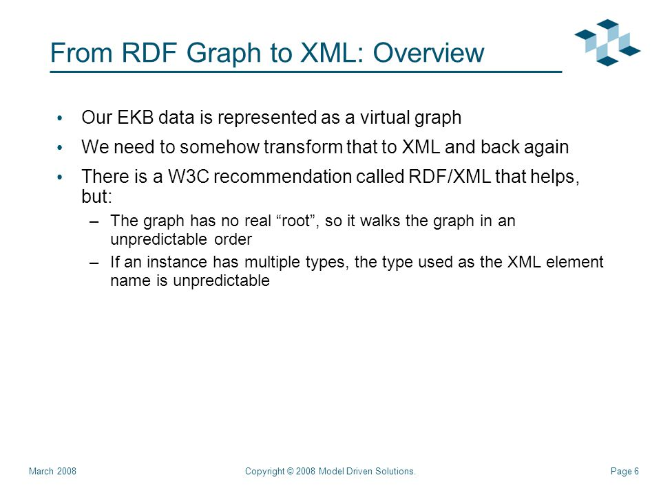 Page 6 From RDF Graph to XML: Overview Our EKB data is represented as a virtual graph We need to somehow transform that to XML and back again There is a W3C recommendation called RDF/XML that helps, but: –The graph has no real root , so it walks the graph in an unpredictable order –If an instance has multiple types, the type used as the XML element name is unpredictable Copyright © 2008 Model Driven Solutions.March 2008