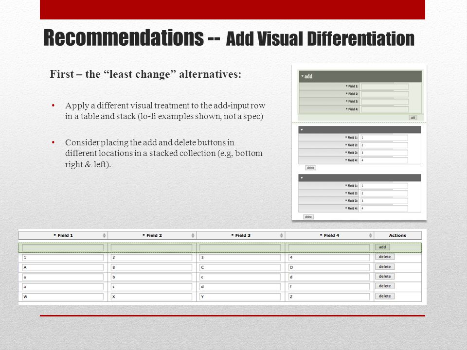Least change Recommendations Continued Apply a different visual treatment to the added rows through 1 submit cycle, to provide visual confirmation/feedback to the user.