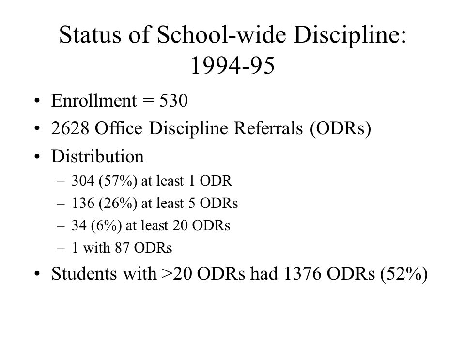 Status of School-wide Discipline: 1994-95 Enrollment = 530 2628 Office Discipline Referrals (ODRs) Distribution –304 (57%) at least 1 ODR –136 (26%) at least 5 ODRs –34 (6%) at least 20 ODRs –1 with 87 ODRs Students with >20 ODRs had 1376 ODRs (52%)