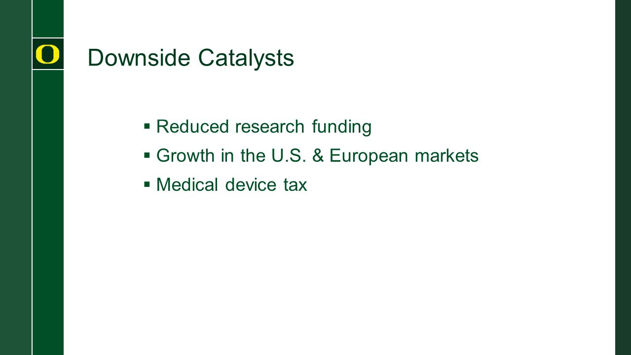 Downside Catalysts  Reduced research funding  Growth in the U.S.