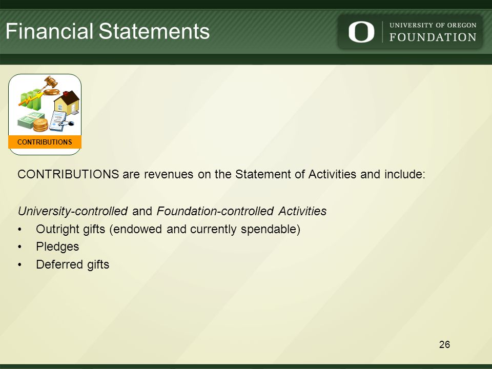 CONTRIBUTIONS are revenues on the Statement of Activities and include: CONTRIBUTIONS Financial Statements 26 University-controlled and Foundation-controlled Activities Outright gifts (endowed and currently spendable) Pledges Deferred gifts