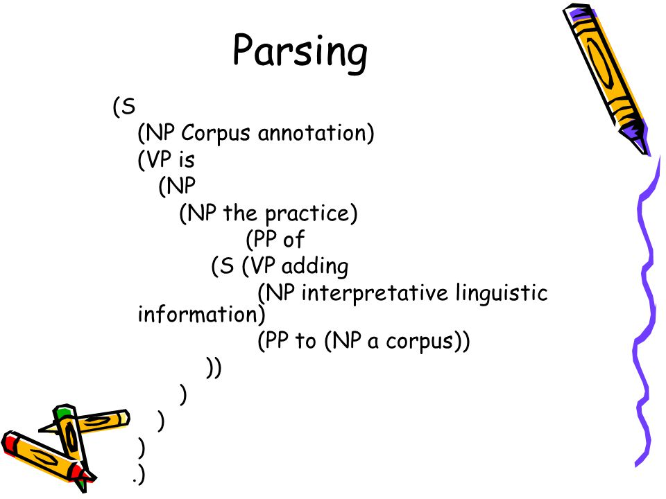 Parsing (S (NP Corpus annotation) (VP is (NP (NP the practice) (PP of (S (VP adding (NP interpretative linguistic information) (PP to (NP a corpus)) )