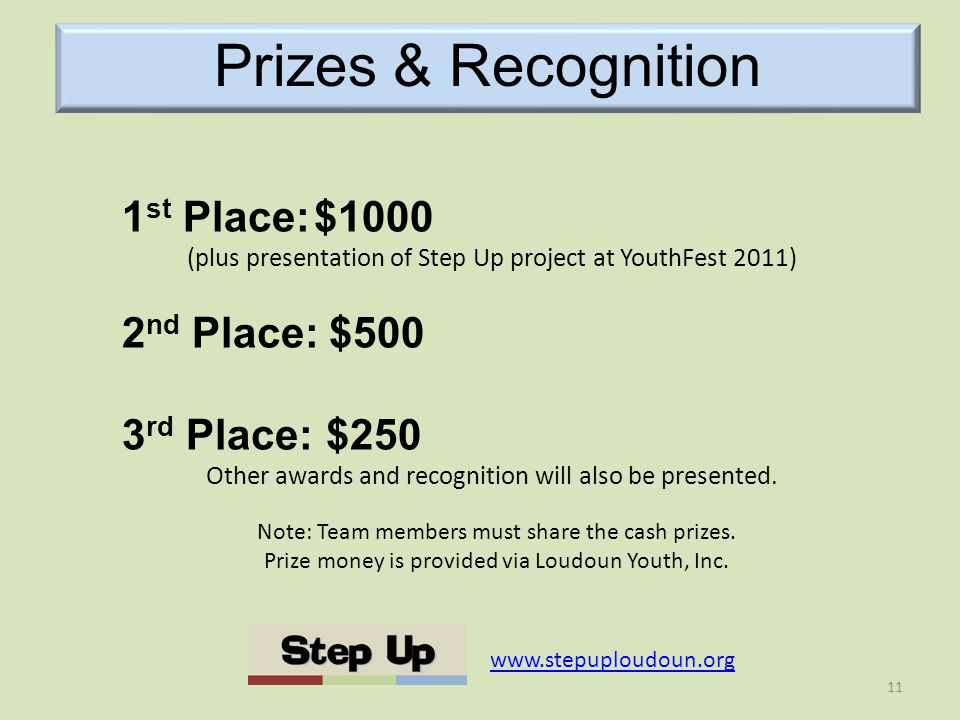 Prizes & Recognition Note: Team members must share the cash prizes.
