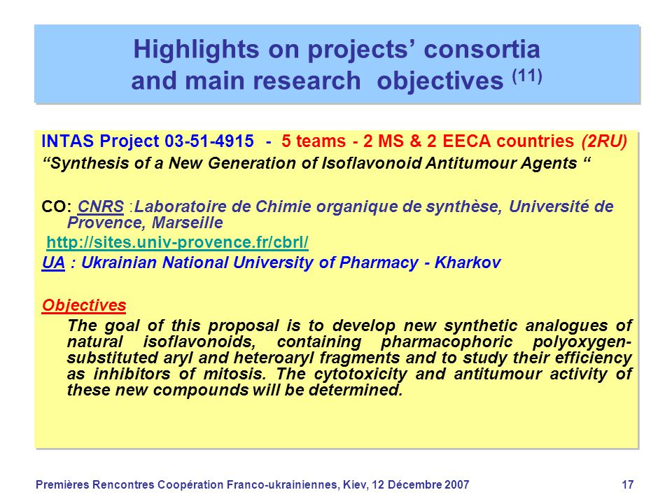 Premières Rencontres Coopération Franco-ukrainiennes, Kiev, 12 Décembre 200717 Highlights on projects' consortia and main research objectives (11) INT
