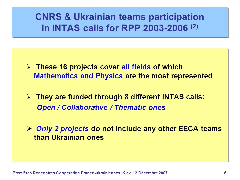Premières Rencontres Coopération Franco-ukrainiennes, Kiev, 12 Décembre 20076 CNRS & Ukrainian teams participation in INTAS calls for RPP 2003-2006 (2)  These 16 projects cover all fields of which Mathematics and Physics are the most represented  They are funded through 8 different INTAS calls: Open / Collaborative / Thematic ones  Only 2 projects do not include any other EECA teams than Ukrainian ones  These 16 projects cover all fields of which Mathematics and Physics are the most represented  They are funded through 8 different INTAS calls: Open / Collaborative / Thematic ones  Only 2 projects do not include any other EECA teams than Ukrainian ones