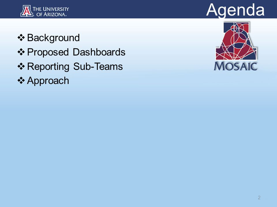 Agenda  Background  Proposed Dashboards  Reporting Sub-Teams  Approach 2