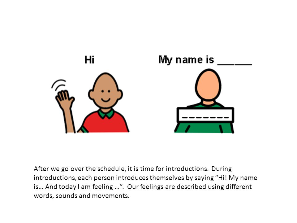 """After we go over the schedule, it is time for introductions. During introductions, each person introduces themselves by saying """"Hi! My name is… And to"""