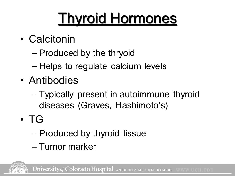 Thyroid Hormones Calcitonin –Produced by the thryoid –Helps to regulate calcium levels Antibodies –Typically present in autoimmune thyroid diseases (G