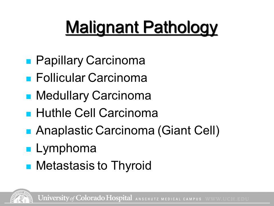 Malignant Pathology Papillary Carcinoma Follicular Carcinoma Medullary Carcinoma Huthle Cell Carcinoma Anaplastic Carcinoma (Giant Cell) Lymphoma Meta