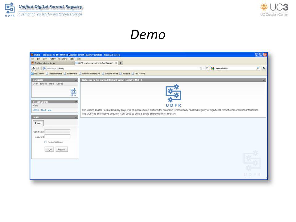 Unified Digital Format Registry a semantic registry for digital preservation Demo