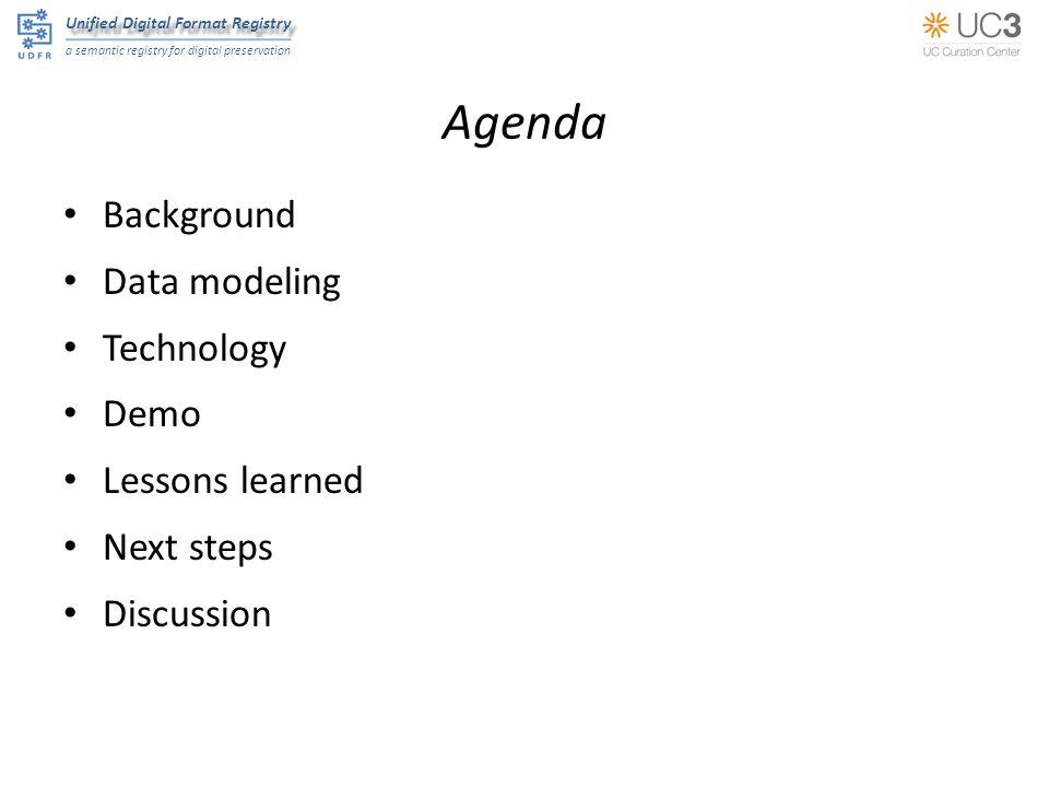 Unified Digital Format Registry a semantic registry for digital preservation Agenda Background Data modeling Technology Demo Lessons learned Next step