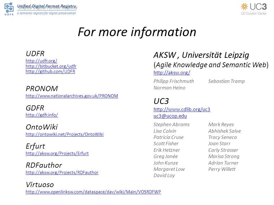 Unified Digital Format Registry a semantic registry for digital preservation For more information UDFR http://udfr.org/ http://bitbucket.org/udfr http