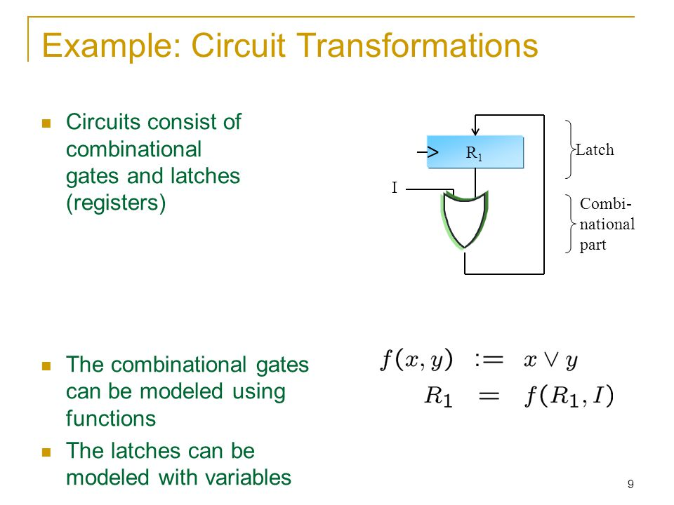 9 Example: Circuit Transformations Circuits consist of combinational gates and latches (registers) The combinational gates can be modeled using functions The latches can be modeled with variables R1R1 I Latch Combi- national part