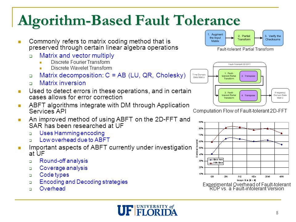 8 Algorithm-Based Fault Tolerance Commonly refers to matrix coding method that is preserved through certain linear algebra operations  Matrix and vector multiply Discrete Fourier Transform Discrete Wavelet Transform  Matrix decomposition: C = AB (LU, QR, Cholesky)  Matrix inversion Used to detect errors in these operations, and in certain cases allows for error correction ABFT algorithms integrate with DM through Application Services API An improved method of using ABFT on the 2D-FFT and SAR has been researched at UF  Uses Hamming encoding  Low overhead due to ABFT Important aspects of ABFT currently under investigation at UF  Round-off analysis  Coverage analysis  Code types  Encoding and Decoding strategies  Overhead Fault-tolerant Partial Transform Computation Flow of Fault-tolerant 2D-FFT Experimental Overhead of Fault-tolerant RDP vs.