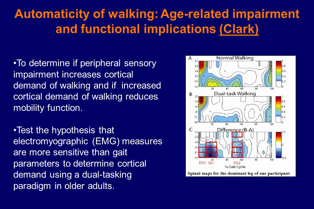Automaticity of walking: Age-related impairment and functional implications (Clark) To determine if peripheral sensory impairment increases cortical demand of walking and if increased cortical demand of walking reduces mobility function.