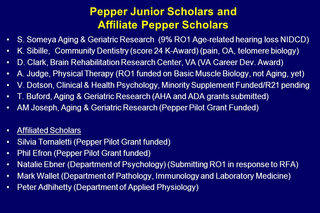 Pepper Junior Scholars and Affiliate Pepper Scholars S.