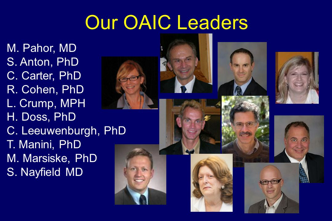 Our OAIC Leaders M. Pahor, MD S. Anton, PhD C. Carter, PhD R.