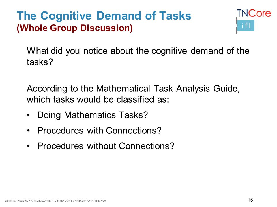 LEARNING RESEARCH AND DEVELOPMENT CENTER © 2013 UNIVERSITY OF PITTSBURGH The Cognitive Demand of Tasks (Whole Group Discussion) What did you notice ab