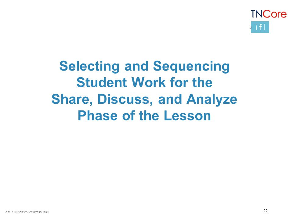 © 2013 UNIVERSITY OF PITTSBURGH Selecting and Sequencing Student Work for the Share, Discuss, and Analyze Phase of the Lesson 22