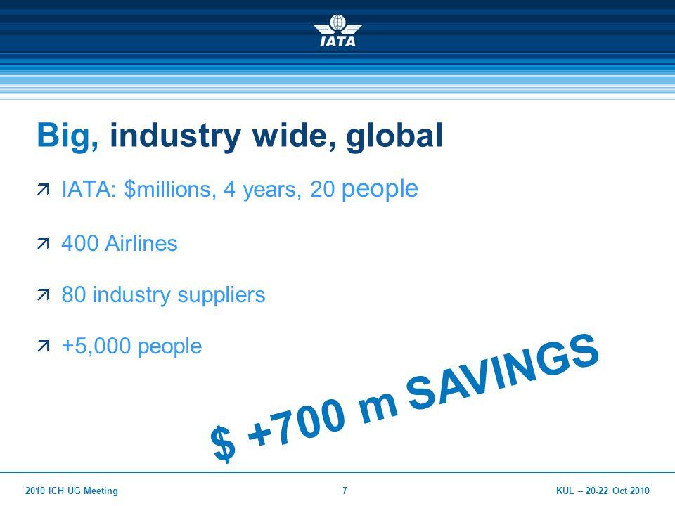 KUL – 20-22 Oct 20102010 ICH UG Meeting7 Big, industry wide, global  IATA: $millions, 4 years, 20 people  400 Airlines  80 industry suppliers  +5,000 people $ +700 m SAVINGS
