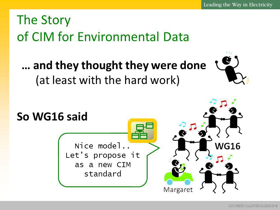 SOUTHERN CALIFORNIA EDISON® The Story of CIM for Environmental Data … and they thought they were done (at least with the hard work) So WG16 said Nice model..