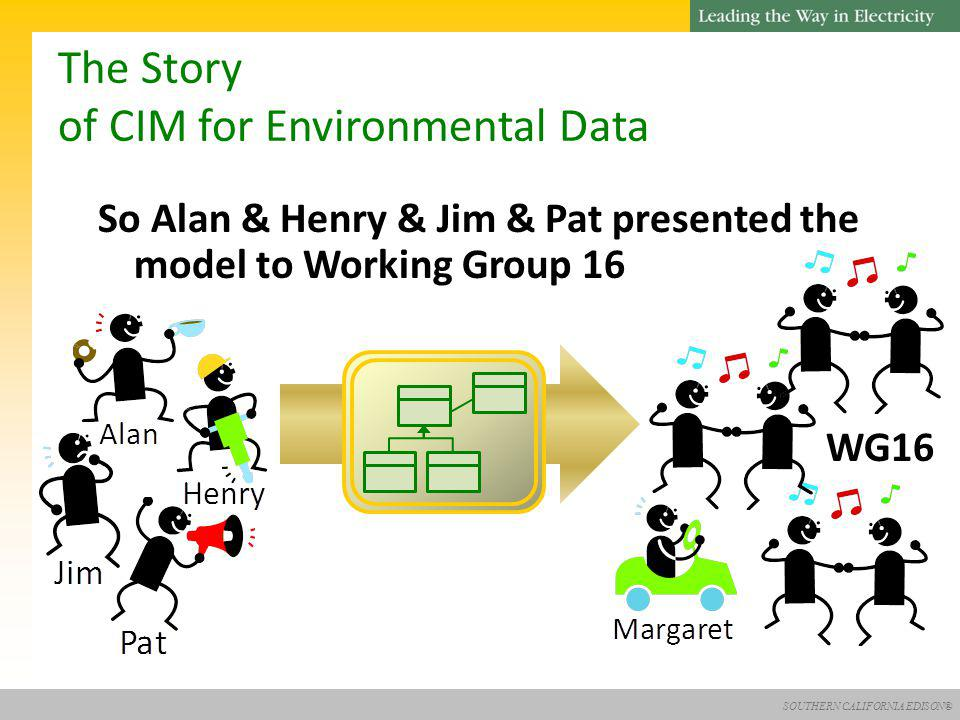 SOUTHERN CALIFORNIA EDISON® The Story of CIM for Environmental Data So Alan & Henry & Jim & Pat presented the model to Working Group 16 WG16