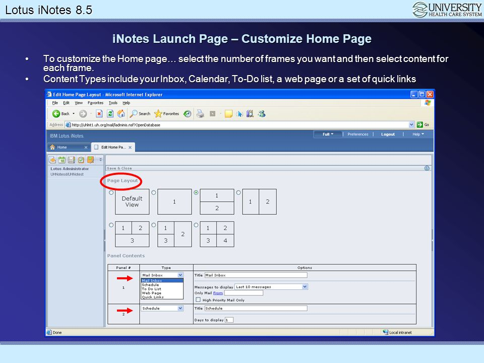 Lotus Notes 8.5 Upgrade Lotus iNotes 8.5 Working with Preferences It's a good idea to set your default free/busy schedule so other users can effectively invite you to meetings.
