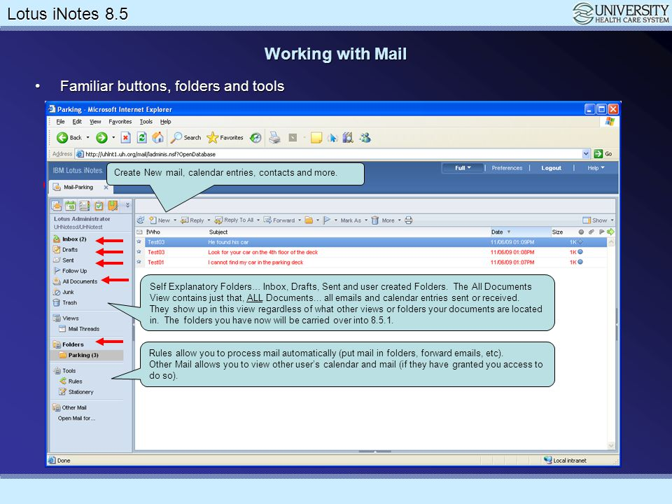 Lotus Notes 8.5 Upgrade Lotus iNotes 8.5 Working with Preferences This is where you can give others access to view your calendarThis is where you can give others access to view your calendar Be VERY careful when allowing others to view your email.