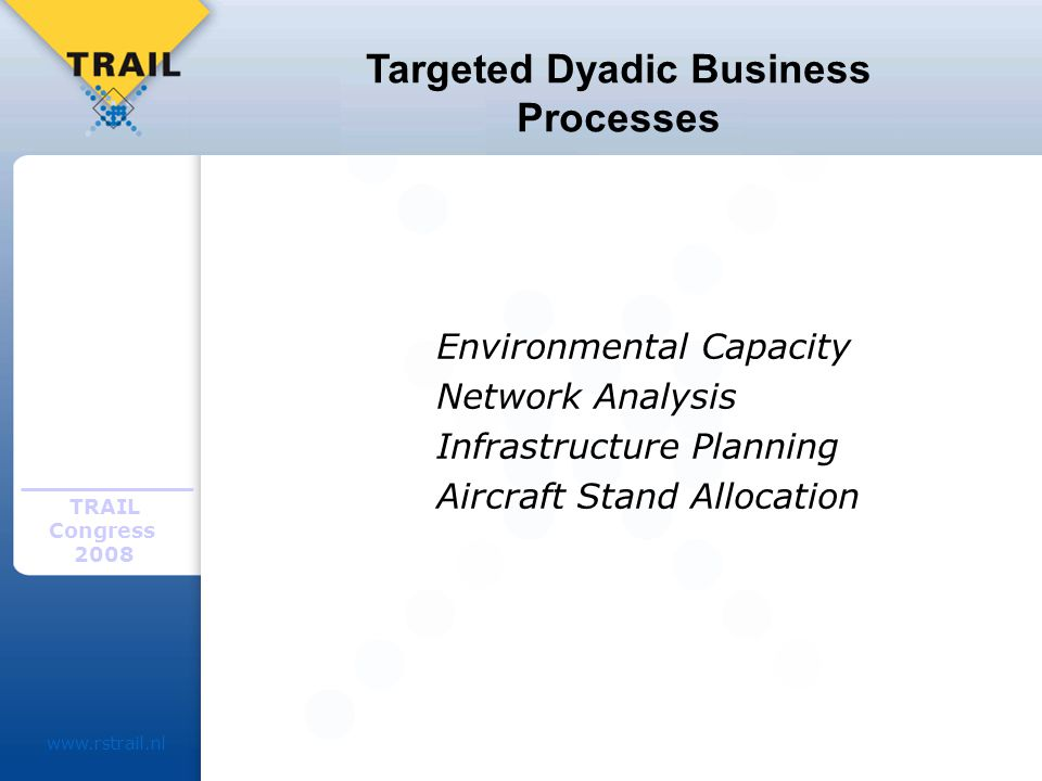 TRAIL Congress Targeted Dyadic Business Processes Environmental Capacity Network Analysis Infrastructure Planning Aircraft Stand Allocation