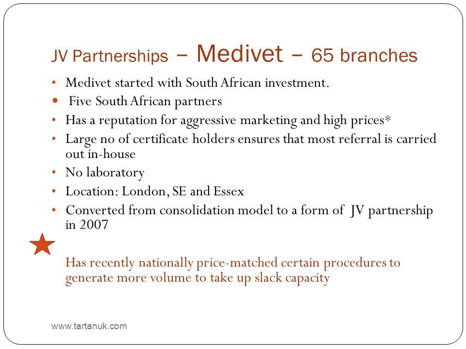 JV Partnerships – Medivet – 65 branches www.tartanuk.com Medivet started with South African investment.