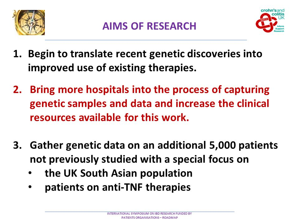 AIMS OF RESEARCH INTERNATIONAL SYMPOSIUM ON IBD RESEARCH FUNDED BY PATIENTS ORGANISATIONS – ROADMAP 1.Begin to translate recent genetic discoveries into improved use of existing therapies.
