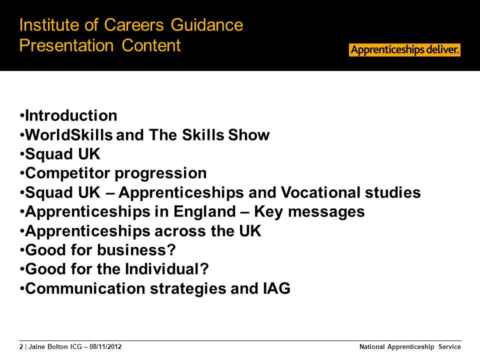 2 | Jaine Bolton ICG – 08/11/2012 Institute of Careers Guidance Presentation Content National Apprenticeship Service Introduction WorldSkills and The Skills Show Squad UK Competitor progression Squad UK – Apprenticeships and Vocational studies Apprenticeships in England – Key messages Apprenticeships across the UK Good for business.
