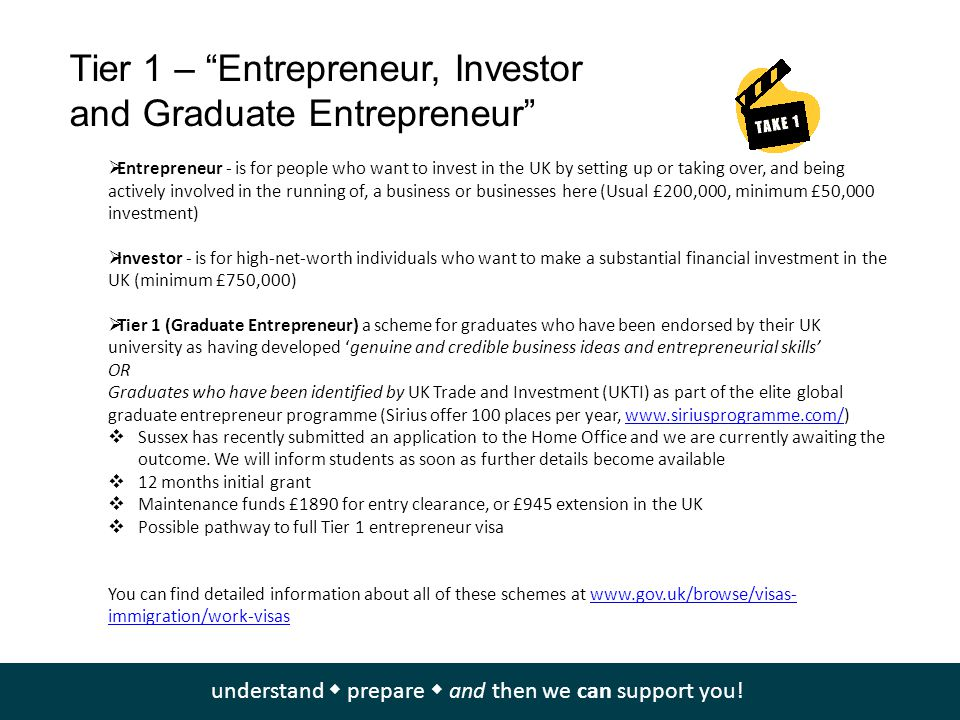Tier 1 – Entrepreneur, Investor and Graduate Entrepreneur  Entrepreneur - is for people who want to invest in the UK by setting up or taking over, and being actively involved in the running of, a business or businesses here (Usual £200,000, minimum £50,000 investment)  Investor - is for high-net-worth individuals who want to make a substantial financial investment in the UK (minimum £750,000)  Tier 1 (Graduate Entrepreneur) a scheme for graduates who have been endorsed by their UK university as having developed 'genuine and credible business ideas and entrepreneurial skills' OR Graduates who have been identified by UK Trade and Investment (UKTI) as part of the elite global graduate entrepreneur programme (Sirius offer 100 places per year, www.siriusprogramme.com/)www.siriusprogramme.com/  Sussex has recently submitted an application to the Home Office and we are currently awaiting the outcome.