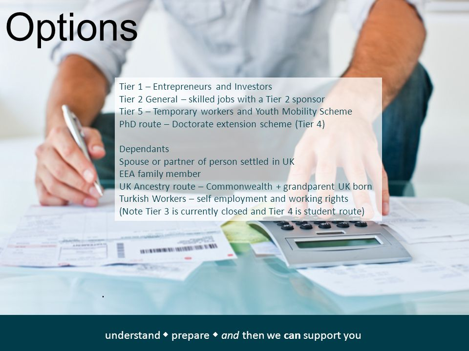 Options Tier 1 – Entrepreneurs and Investors Tier 2 General – skilled jobs with a Tier 2 sponsor Tier 5 – Temporary workers and Youth Mobility Scheme