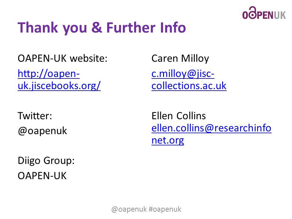 Thank you & Further Info OAPEN-UK website: http://oapen- uk.jiscebooks.org/ Twitter: @oapenuk Diigo Group: OAPEN-UK Caren Milloy c.milloy@jisc- collec