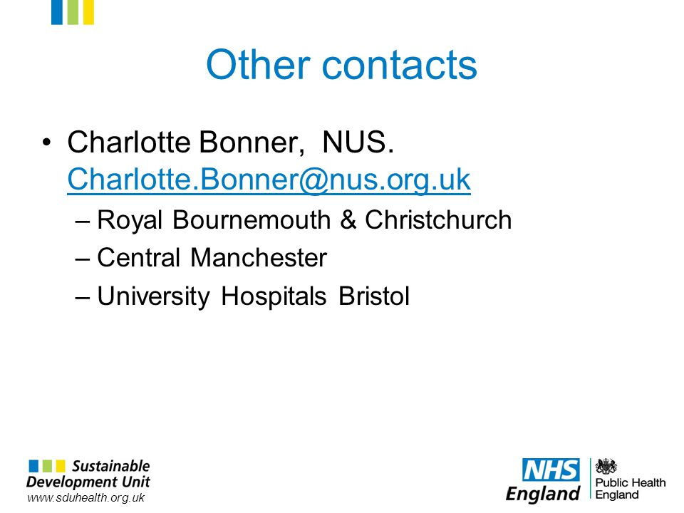 Other contacts Charlotte Bonner, NUS.