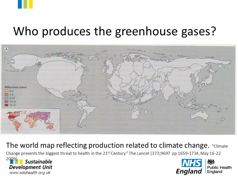 www.sduhealth.org.uk The world map reflecting production related to climate change.