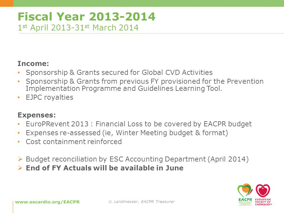 Fiscal Year st April st March 2014 Income: Sponsorship & Grants secured for Global CVD Activities Sponsorship & Grants from previous FY provisioned for the Prevention Implementation Programme and Guidelines Learning Tool.
